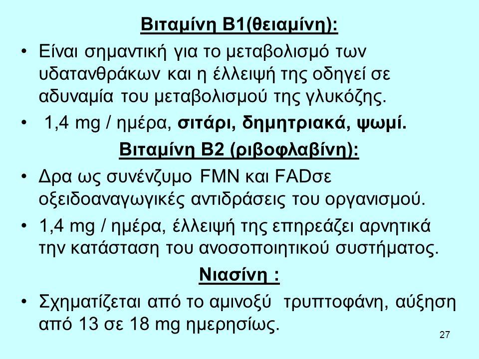 Βιταμίνη Β2 (ριβοφλαβίνη):