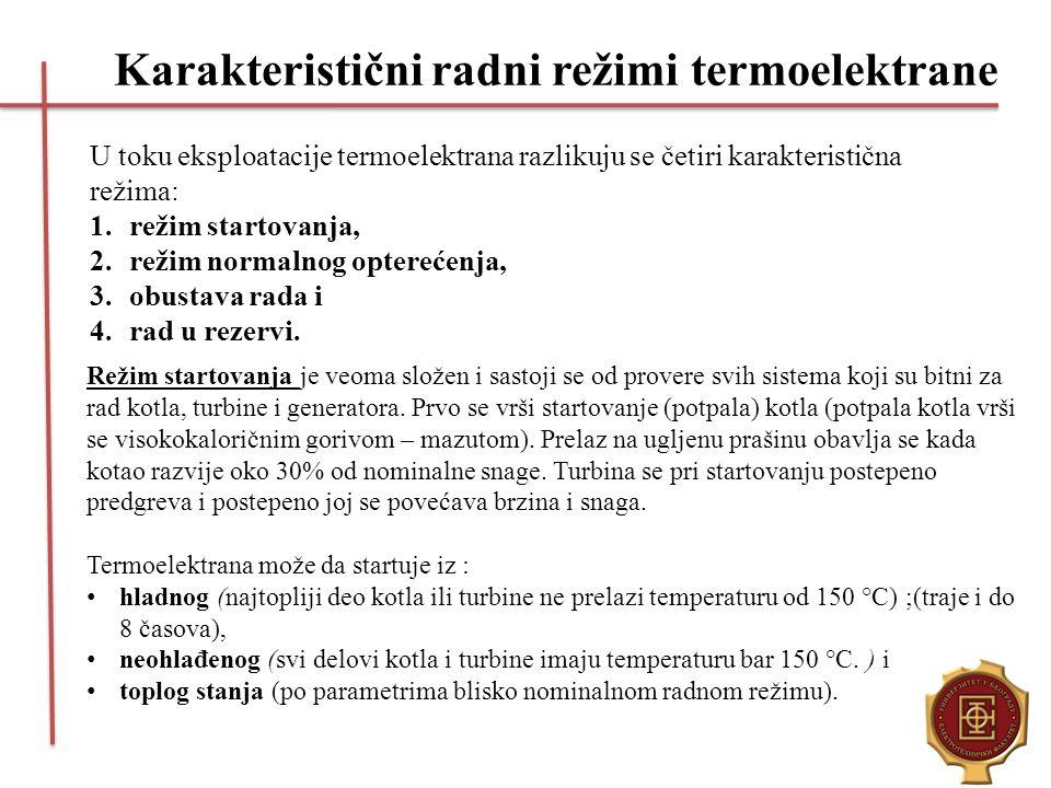 Karakteristični radni režimi termoelektrane