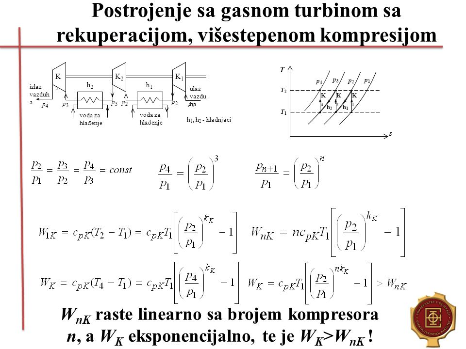 Postrojenje sa gasnom turbinom sa rekuperacijom, višestepenom kompresijom