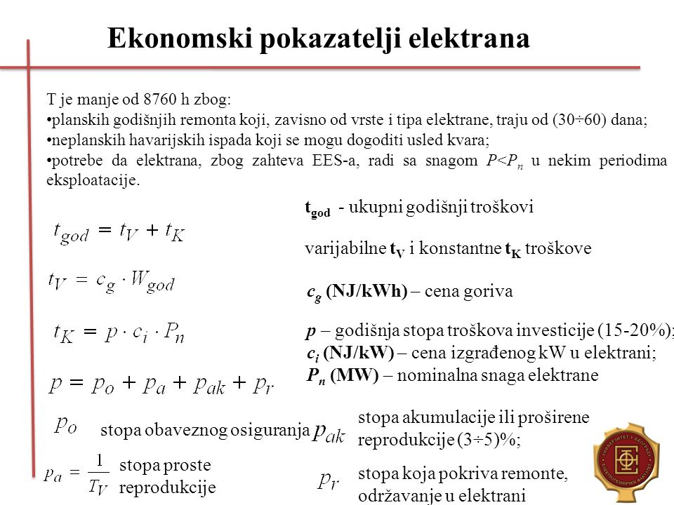 Ekonomski pokazatelji elektrana