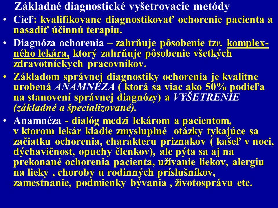 Základné diagnostické vyšetrovacie metódy