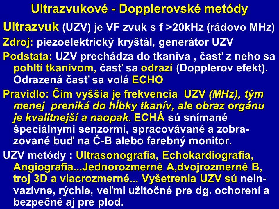 Ultrazvukové - Dopplerovské metódy