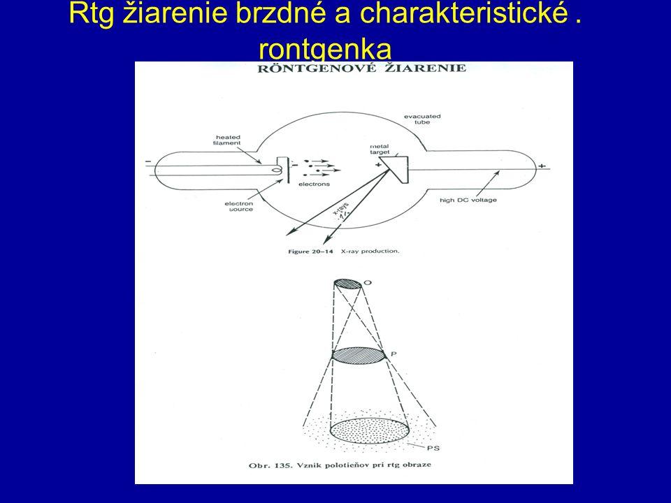 Rtg žiarenie brzdné a charakteristické . rontgenka