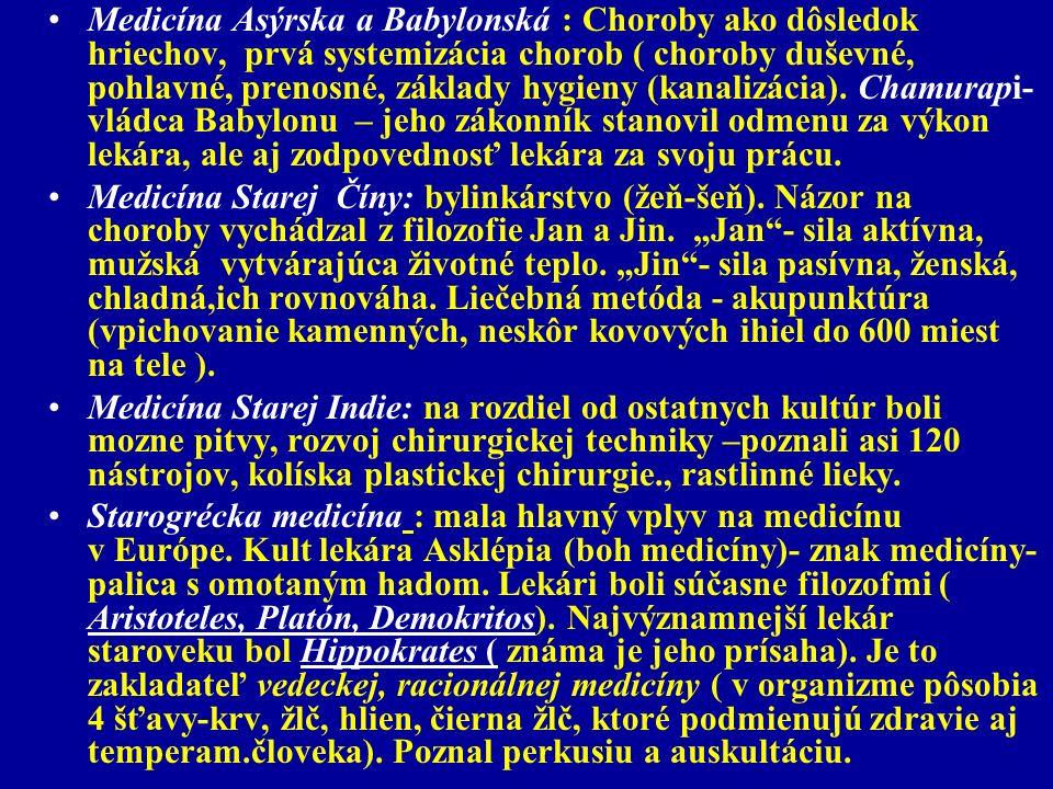 Medicína Asýrska a Babylonská : Choroby ako dôsledok hriechov, prvá systemizácia chorob ( choroby duševné, pohlavné, prenosné, základy hygieny (kanalizácia). Chamurapi- vládca Babylonu – jeho zákonník stanovil odmenu za výkon lekára, ale aj zodpovednosť lekára za svoju prácu.
