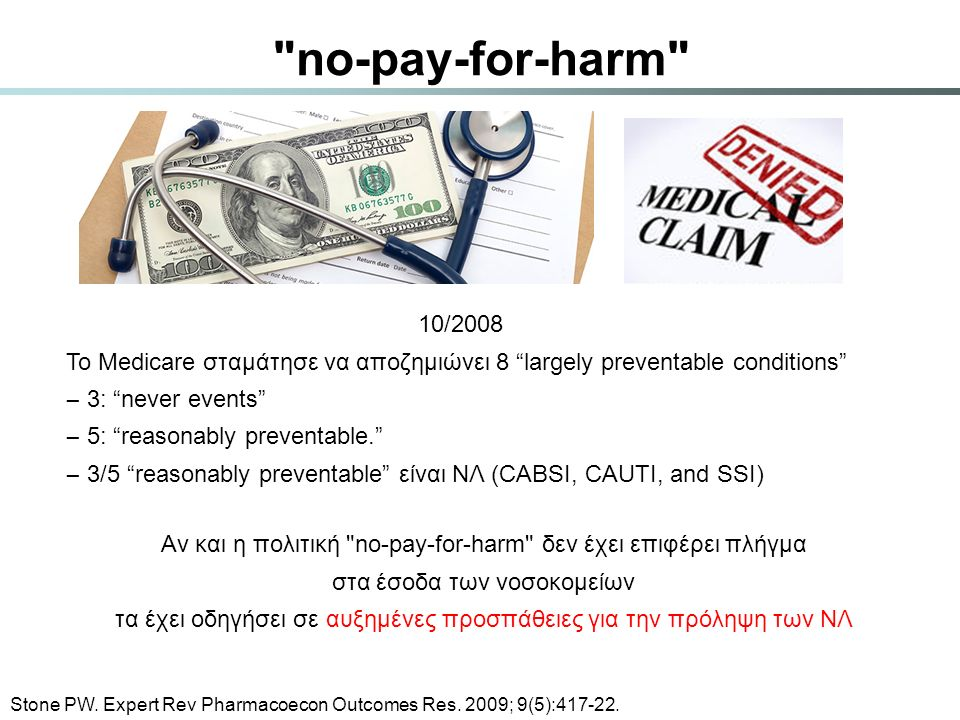 no-pay-for-harm 10/2008. Το Medicare σταμάτησε να αποζημιώνει 8 largely preventable conditions