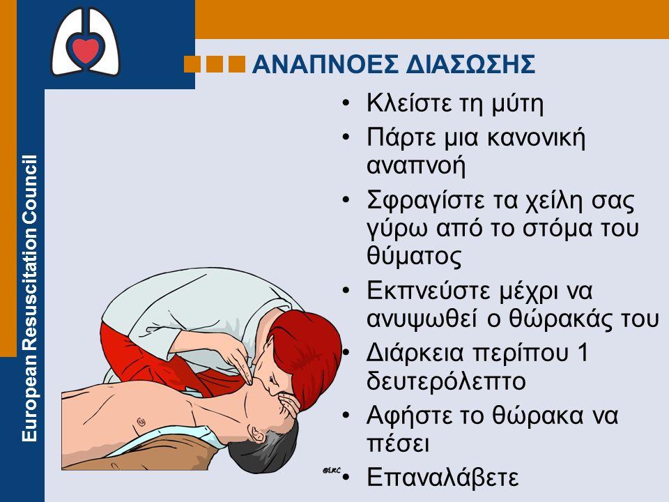 ΑΝΑΠΝΟΕΣ ΔΙΑΣΩΣΗΣ Κλείστε τη μύτη. Πάρτε μια κανονική αναπνοή. Σφραγίστε τα χείλη σας γύρω από το στόμα του θύματος.