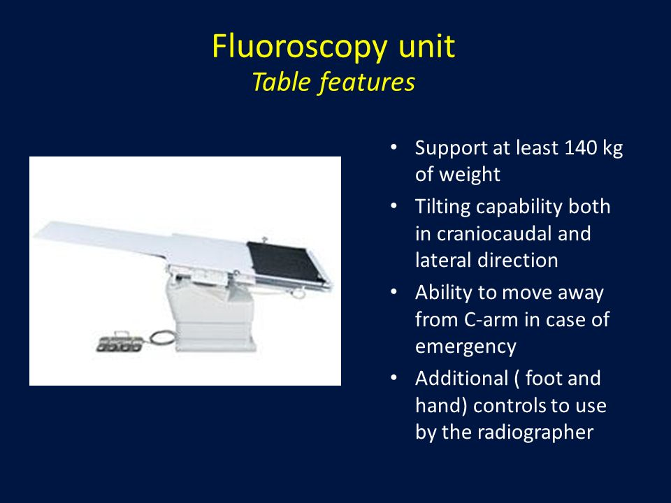 Fluoroscopy unit Table features