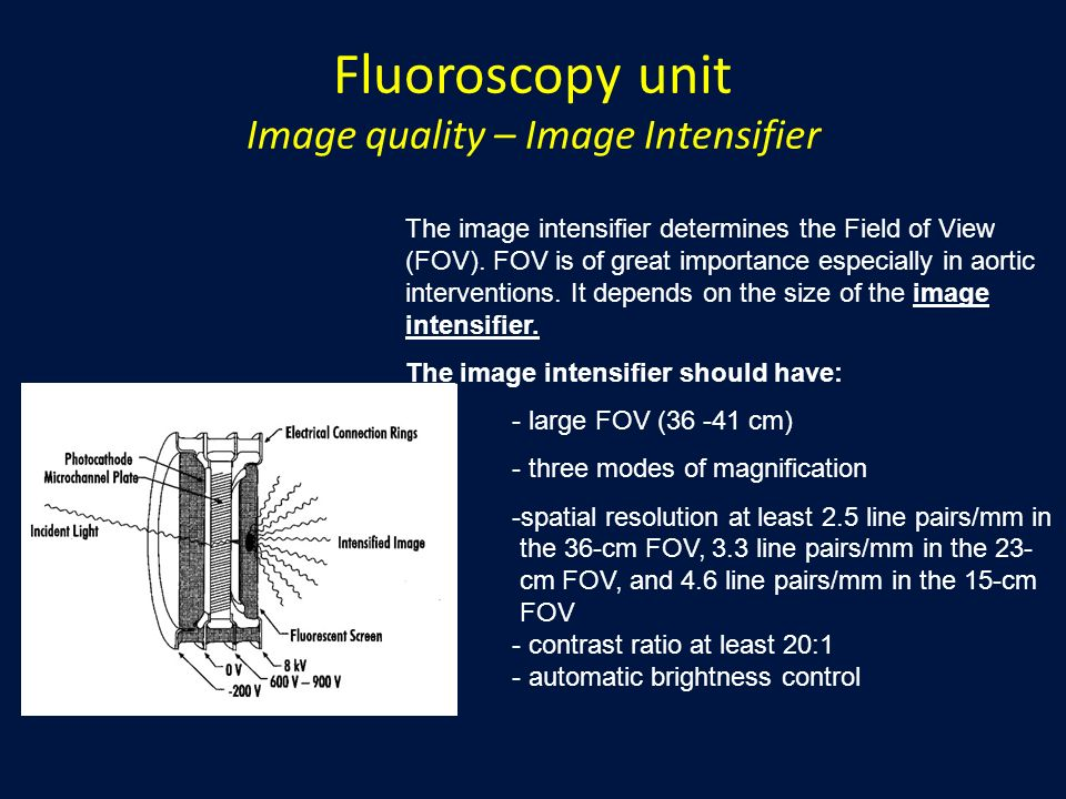 Fluoroscopy unit Image quality – Image Intensifier