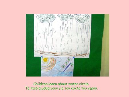 Children learn about water circle. Τα παιδιά μαθαίνουν για τον κύκλο του νερού.