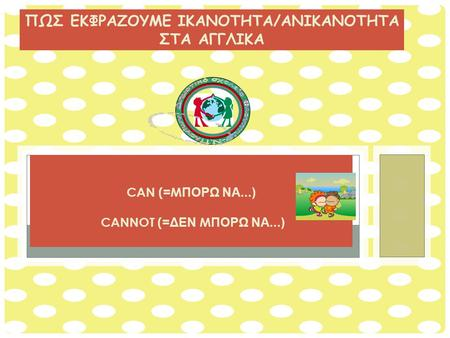 AFFIRMATIVE NEGATIVE QUESTIONS CAN ( = M ΠΟΡΩ ΝΑ...) CANNOT ( =ΔΕΝ M ΠΟΡΩ ΝΑ...) ΠΩΣ ΕΚΦΡΑΖΟΥΜΕ IKANOTHTA/ANIKANOTHTA ΣΤΑ ΑΓΓΛΙΚΑ.