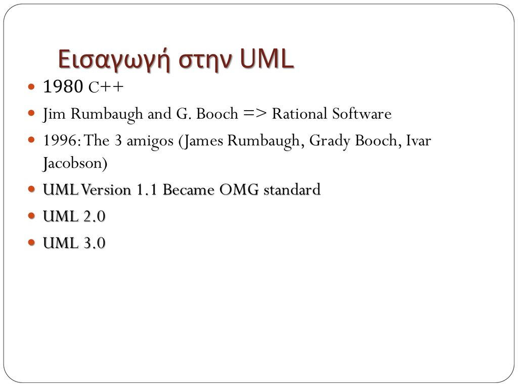 Εισαγωγή στην UML 1980 C++ Jim Rumbaugh and G. Booch => Rational Software. 1996: The 3 amigos (James Rumbaugh, Grady Booch, Ivar Jacobson)