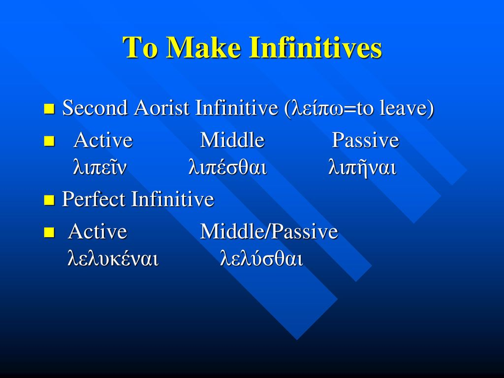 To Make Infinitives Second Aorist Infinitive (λείπω=to leave)