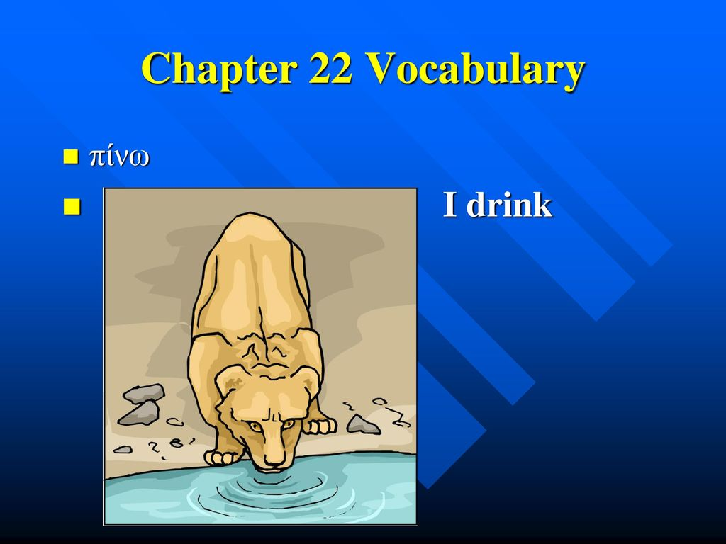 Chapter 22 Vocabulary πίνω I drink