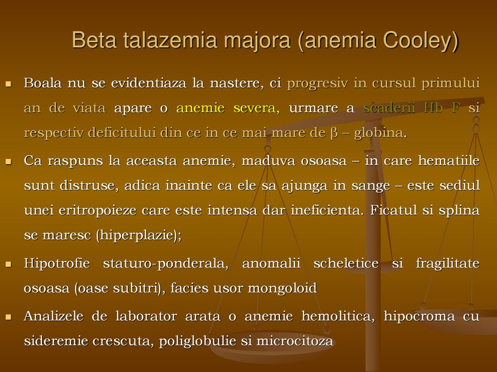 Beta talazemia majora (anemia Cooley)