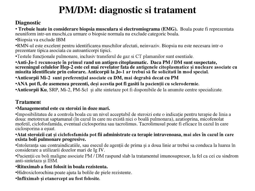 PM/DM: diagnostic si tratament