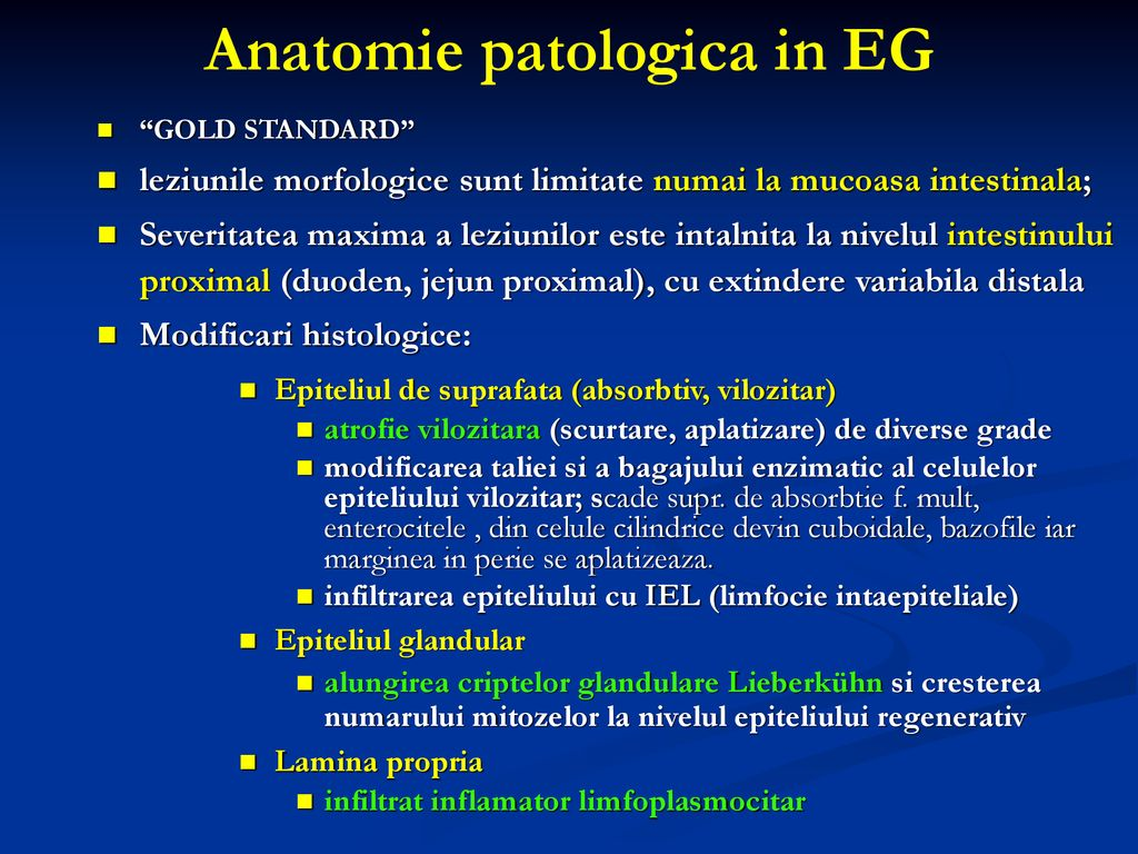 Anatomie patologica in EG