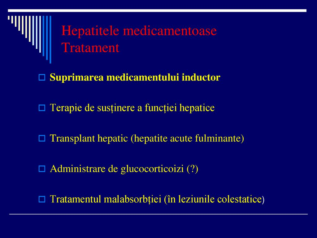 Hepatitele medicamentoase Tratament
