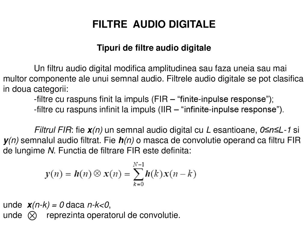 Tipuri de filtre audio digitale