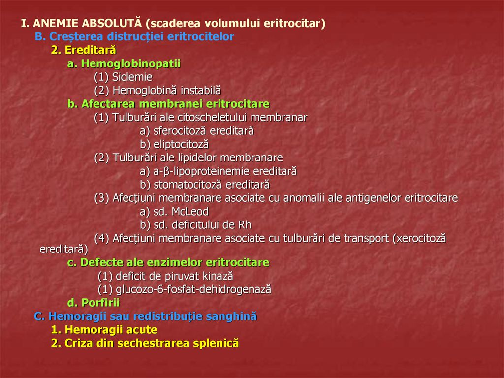 anemie ereditara)
