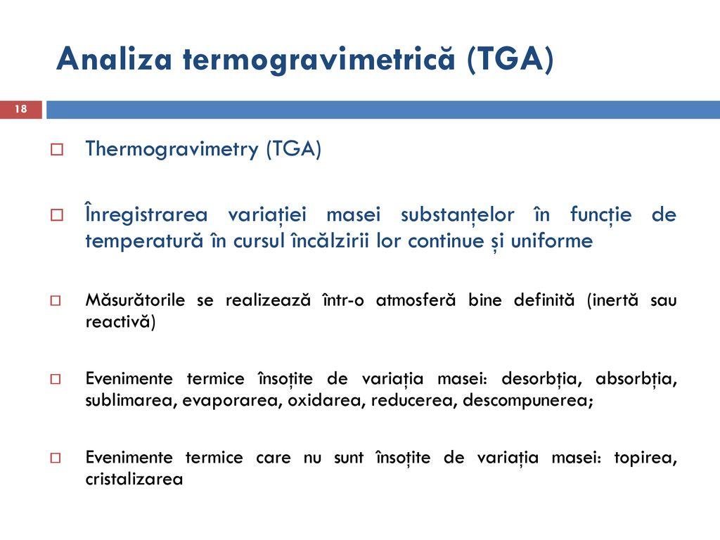 temperatura de pierdere în greutate tga)