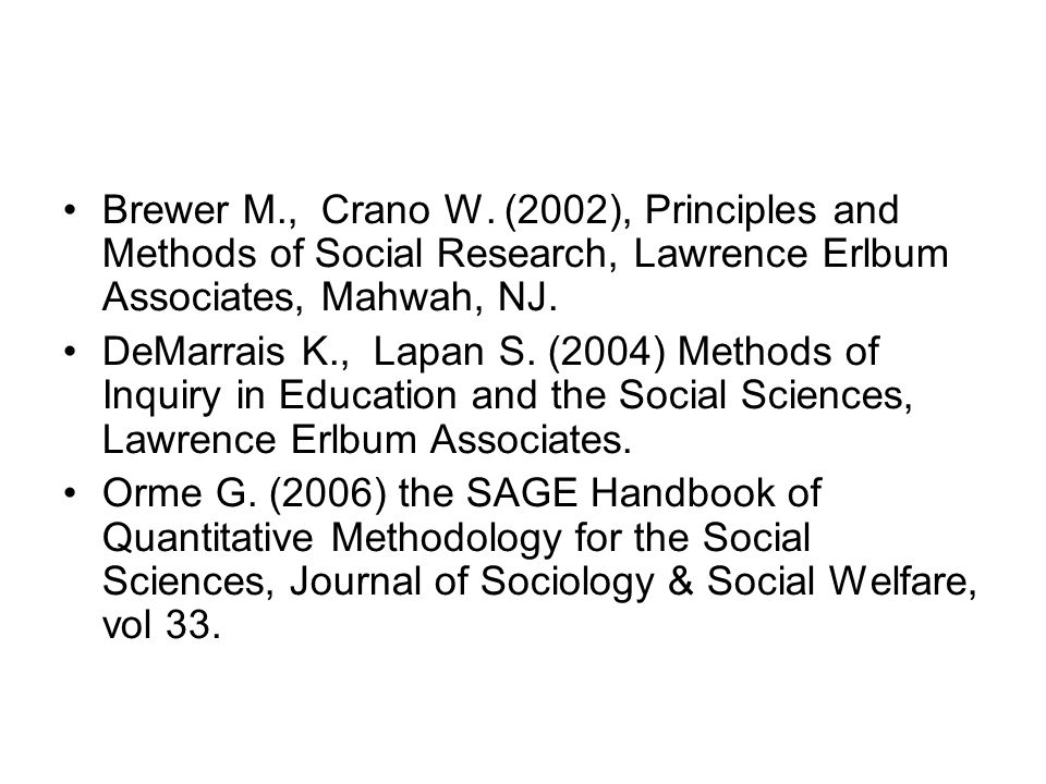 Brewer M., Crano W. (2002), Principles and Methods of Social Research, Lawrence Erlbum Associates, Mahwah, NJ.