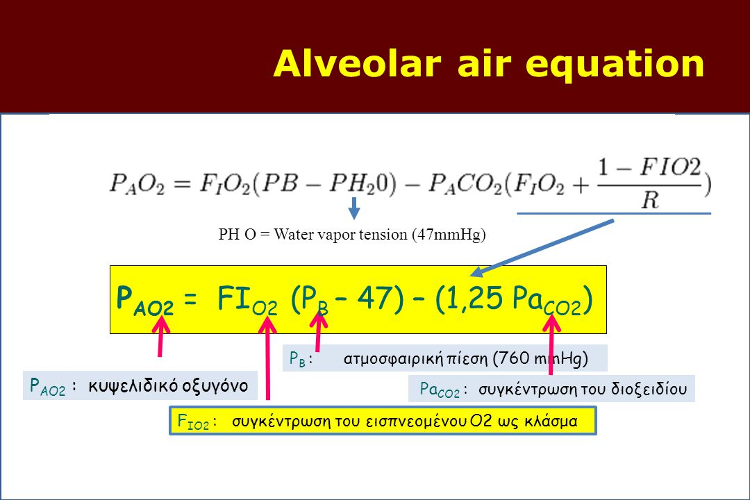 Alveolar air equation PAO2 = FΙO2 (PB – 47) – (1,25 PaCO2)
