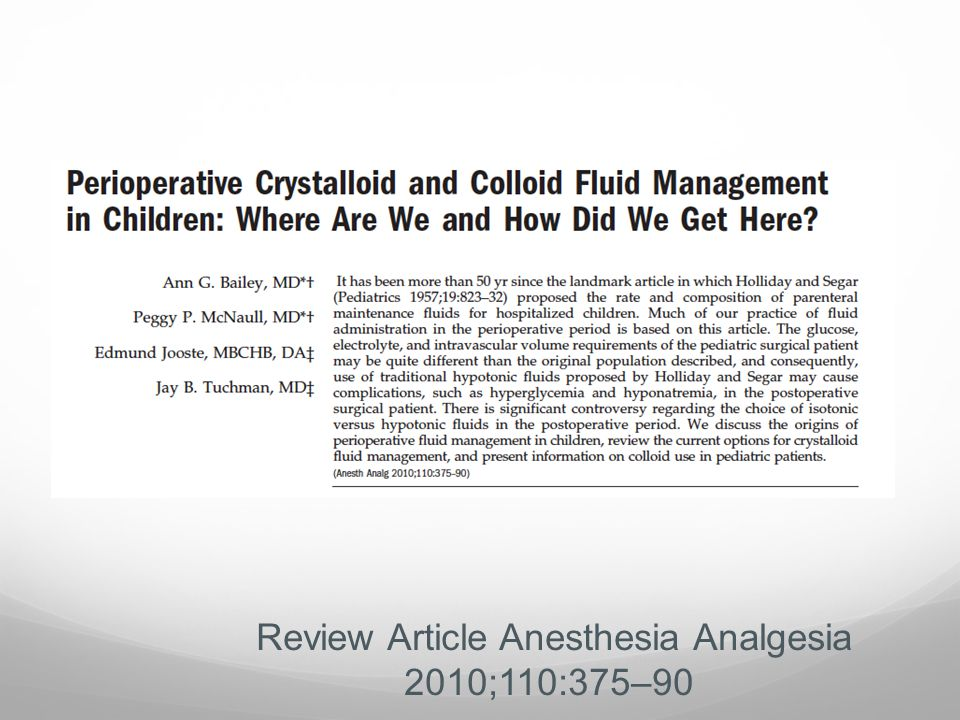 Review Article Anesthesia Analgesia 2010;110:375–90