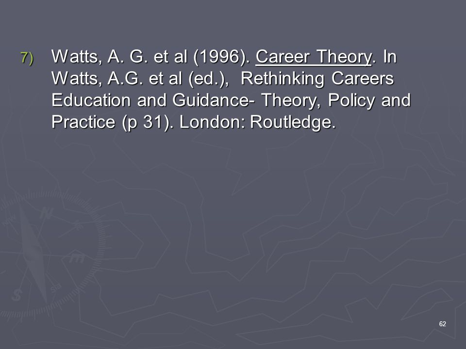 Watts, A. G. et al (1996). Career Theory. In Watts, A. G. et al (ed