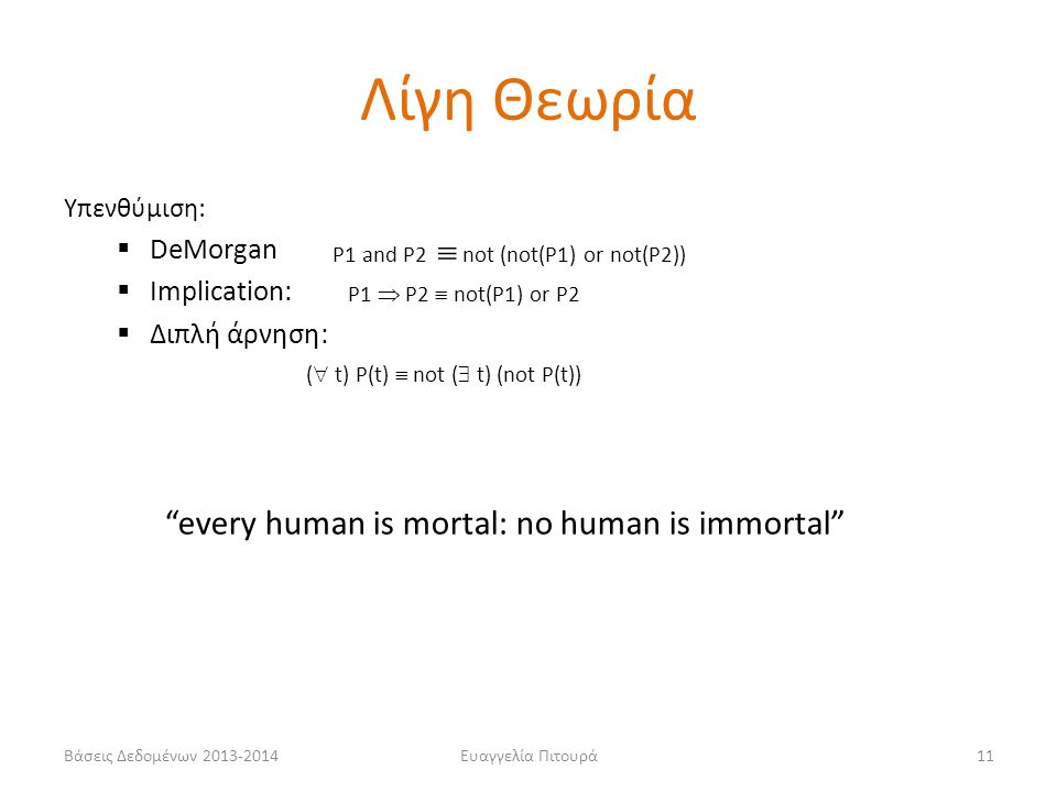 Λίγη Θεωρία every human is mortal: no human is immortal DeMorgan