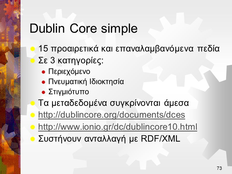 Dublin Core simple 15 προαιρετικά και επαναλαμβανόμενα πεδία