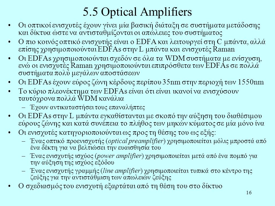 5.5 Optical Amplifiers