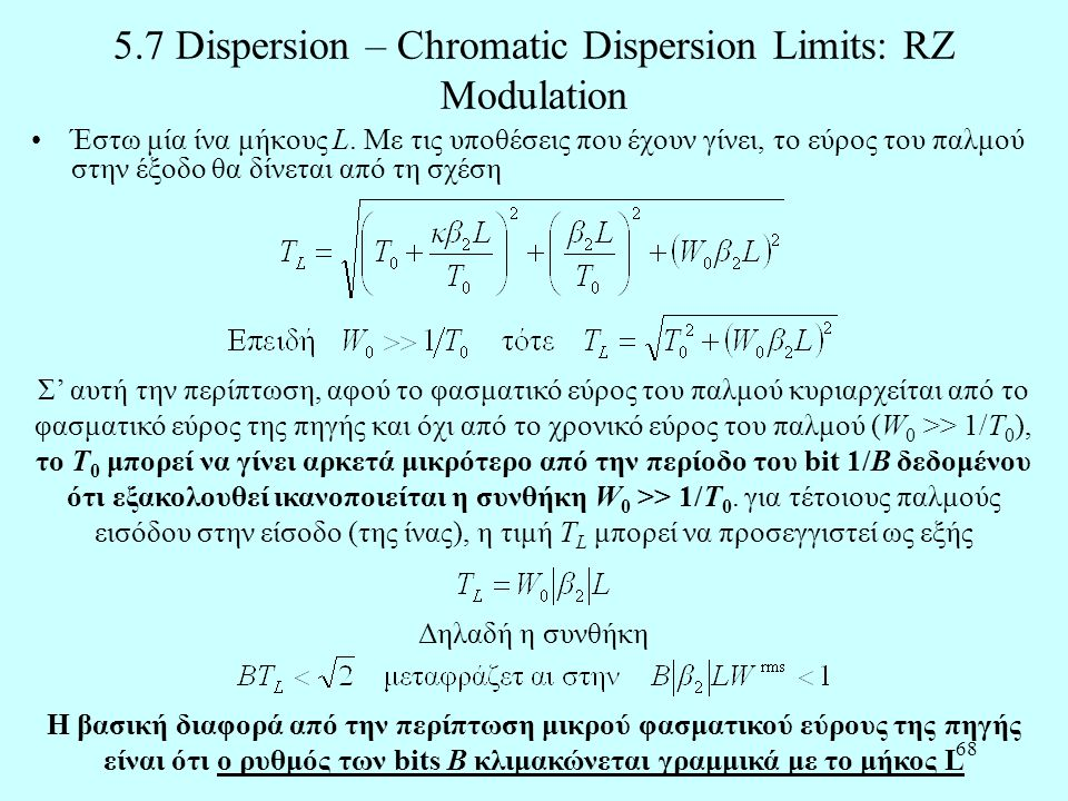 5.7 Dispersion – Chromatic Dispersion Limits: RZ Modulation