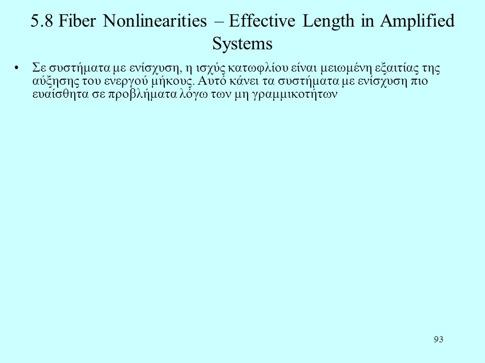 5.8 Fiber Nonlinearities – Effective Length in Amplified Systems