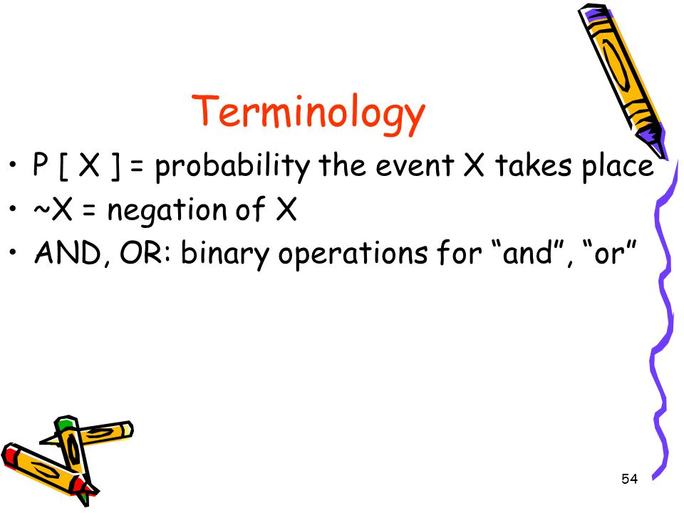 Terminology P [ X ] = probability the event X takes place