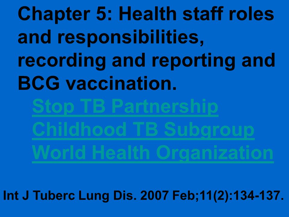 Stop TB Partnership Childhood TB Subgroup World Health Organization