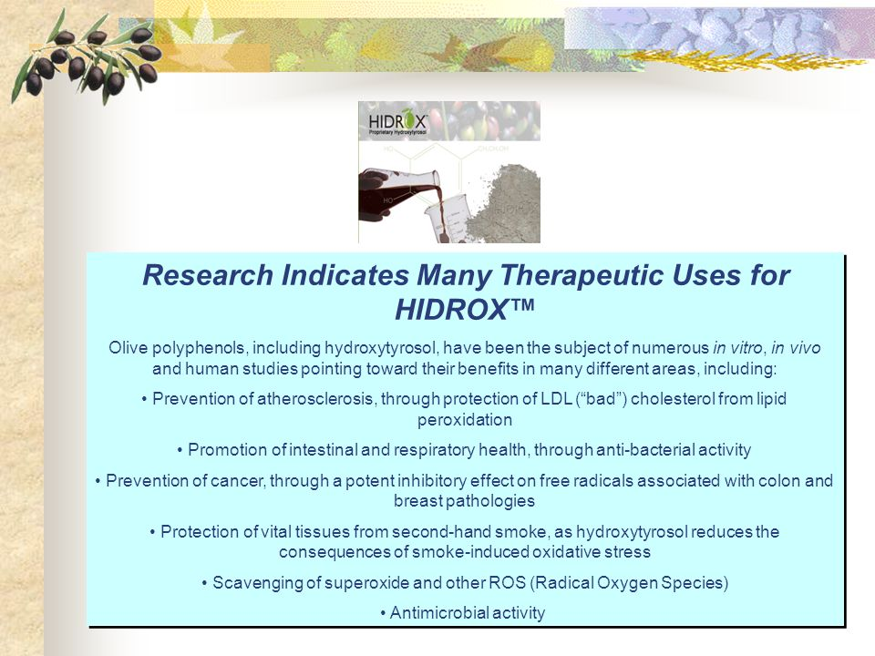 Research Indicates Many Therapeutic Uses for HIDROX™