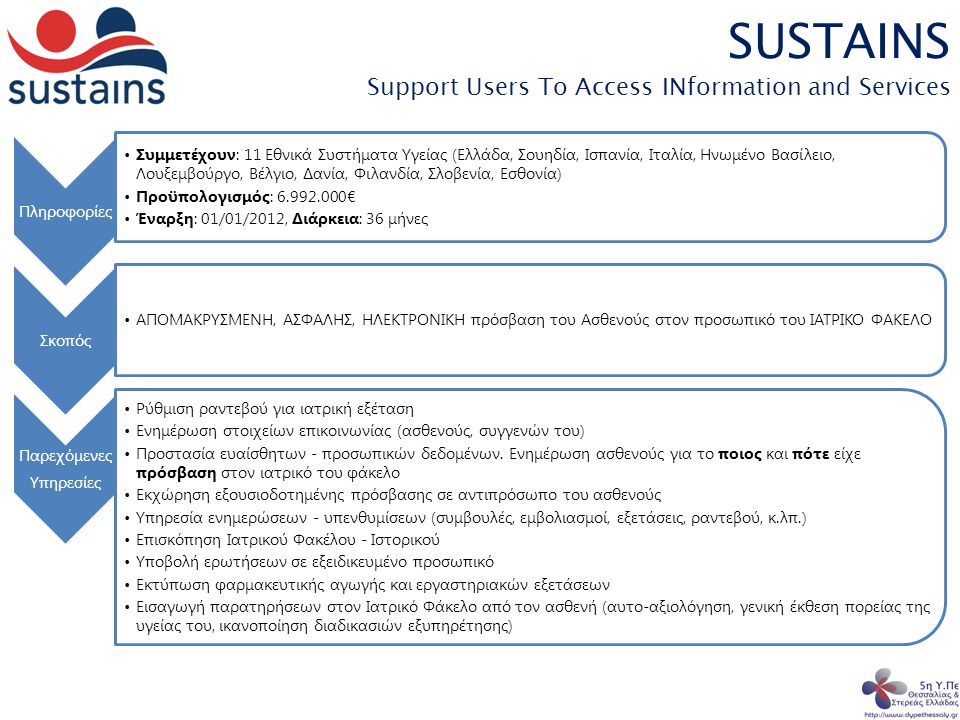 SUSTAINS Support Users To Access INformation and Services