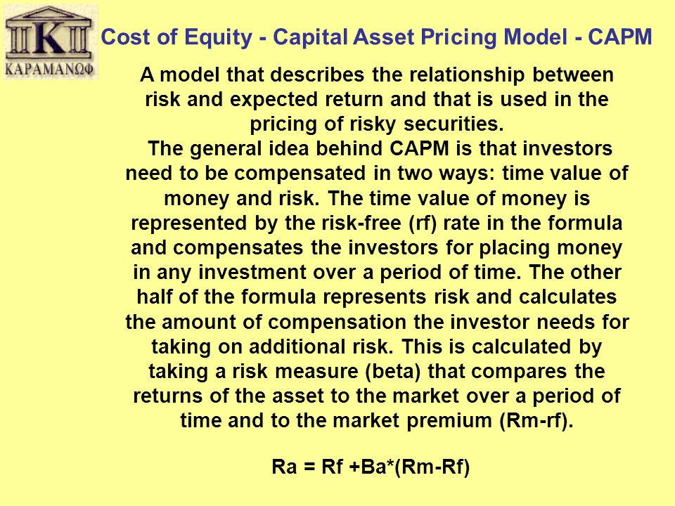 Cost of Equity - Capital Asset Pricing Model - CAPM