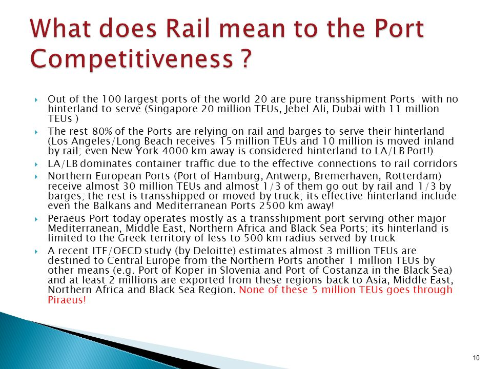 What does Rail mean to the Port Competitiveness