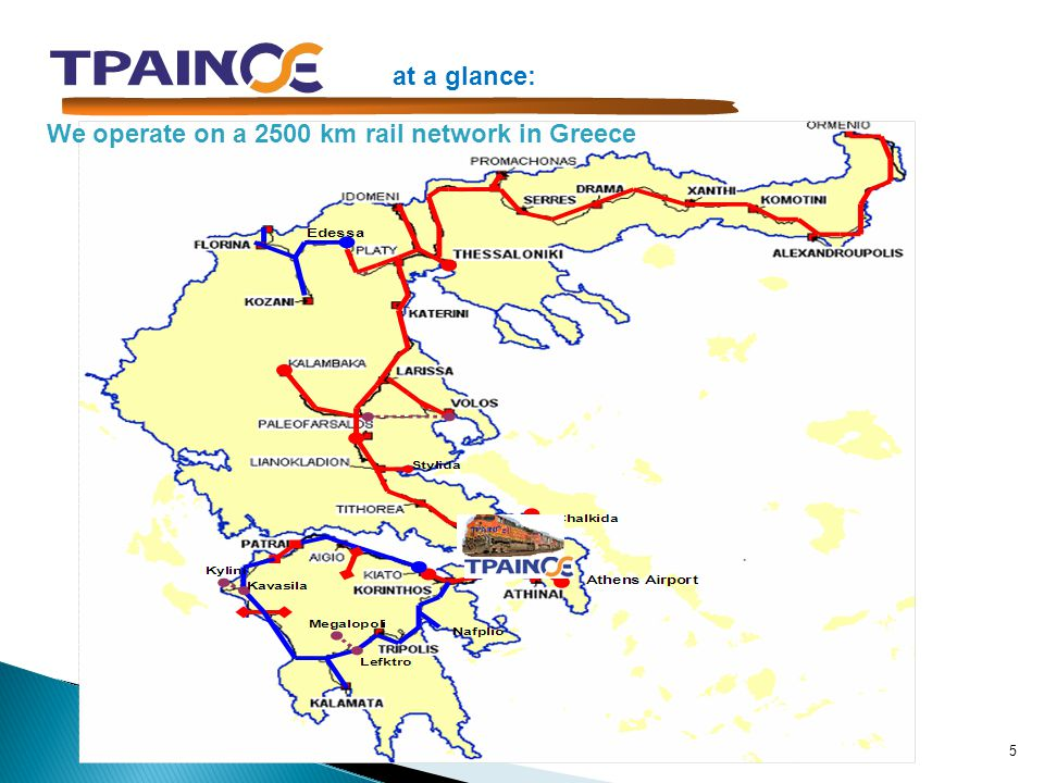 at a glance: We operate on a 2500 km rail network in Greece