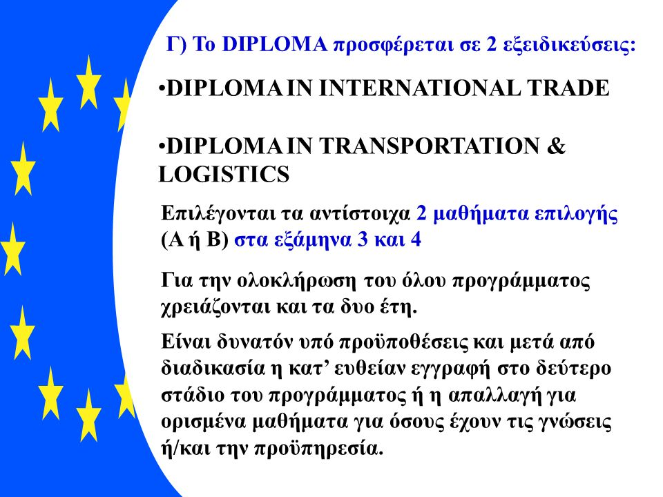 DIPLOMA IN INTERNATIONAL TRADE DIPLOMA IN TRANSPORTATION & LOGISTICS