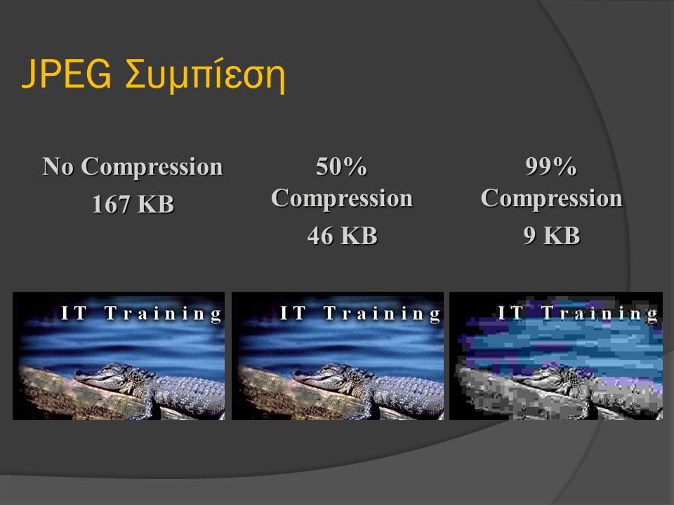 JPEG Συμπίεση No Compression 167 KB 50% Compression 46 KB