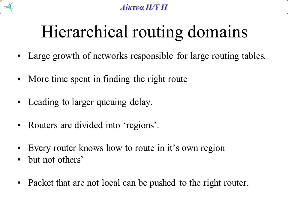 Hierarchical routing domains