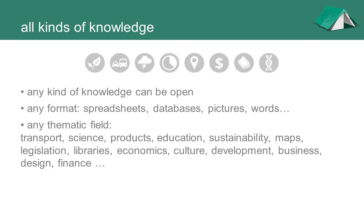all kinds of knowledge • any kind of knowledge can be open