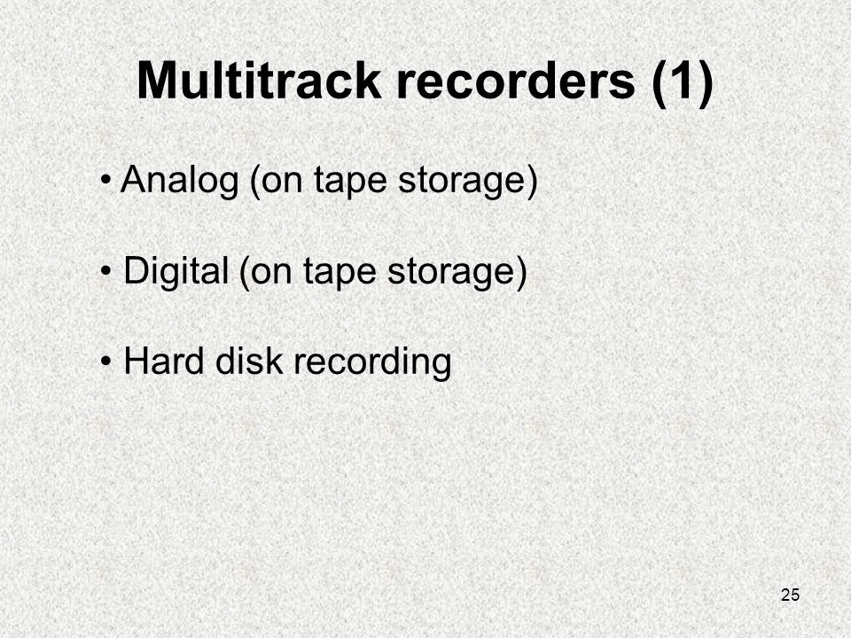 Multitrack recorders (1)