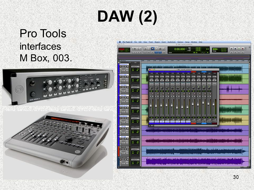 DAW (2) Pro Tools interfaces M Box, 003.