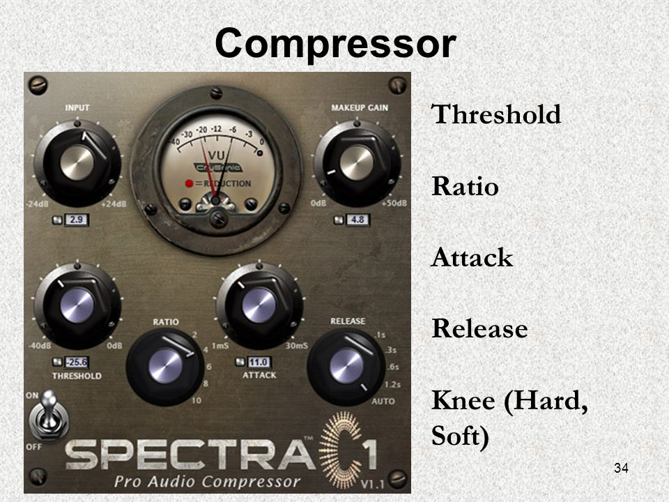 Compressor Threshold Ratio Attack Release Knee (Hard, Soft)
