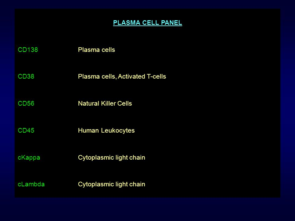 PLASMA CELL PANEL CD138. Plasma cells. CD38. Plasma cells, Activated T-cells. CD56. Natural Killer Cells.