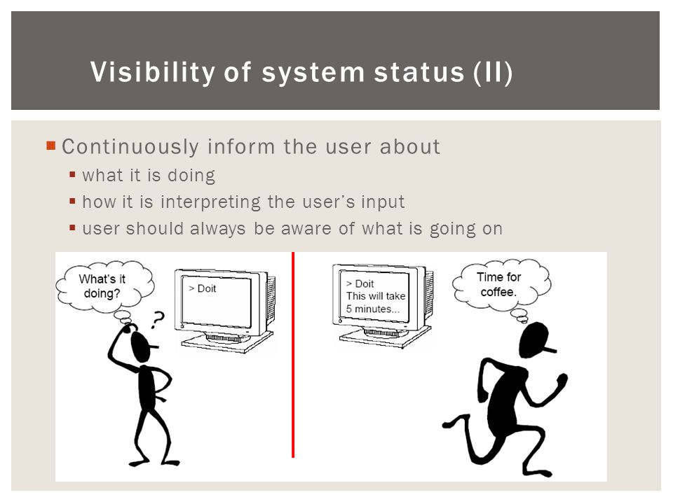 Visibility of system status (ΙΙ)