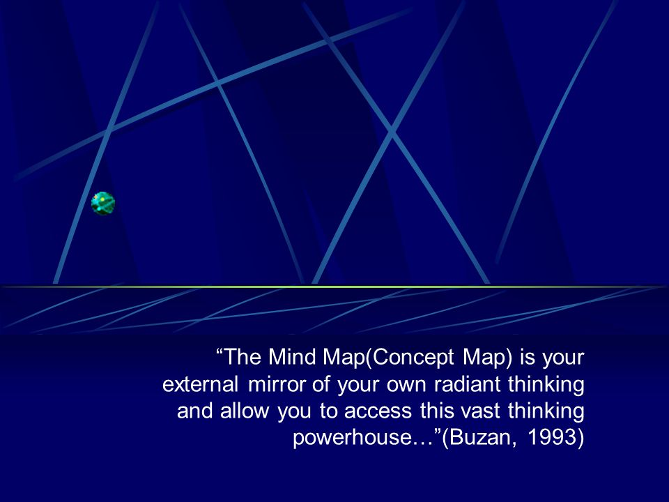 The Mind Map(Concept Map) is your external mirror of your own radiant thinking and allow you to access this vast thinking powerhouse… (Buzan, 1993)